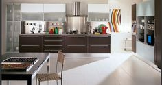 Kitchen with abstract painting decor