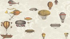 Fornasetti II Collection for Cole & Son #flight #balloons #retro #flying #machines #illustration