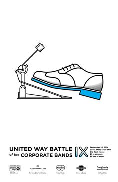Battle of the Bands Poster on Behance #poster #battle #band #bands #shoe #drum #flyer #handbill #typography #clean #minimalist #simple #illu