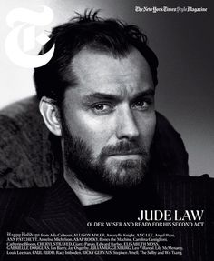 Ami jacket, $1,080; mrporter.com. Hermès sweater, $1,325; hermes.com. #cover #law #magazine #jude