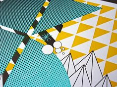 SoundSet Poster   Studio On Fire #halftone #geometry #pop #yellow #triangle #crcle #blue
