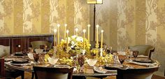 Artistic wallpaper in dining room #accessories #artistic #collection #home #furniture #cavalli #art #roberto