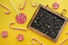 Birthday concept with slate on yellow background Free Psd. See more inspiration related to Background, Mockup, Birthday, Happy birthday, Party, Anniversary, Celebration, Happy, Candy, Yellow, Chalkboard, Mock up, Decoration, Decorative, Celebrate, Birthday party, Candy cane, Sweets, Festive, Up, Lollipop, Birth, Happy anniversary, Concept, Slate, Cane, Annual, Composition and Mock on Freepik.