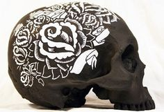 (11) Tumblr #black #paint #tattoo #skull #flowers