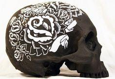 (11) Tumblr #black #paint #tattoo #skull #flowers