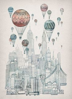 Voyages Over New York Art Print by David Fleck | Society6 #illustration #poster