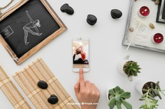 Yoga composition with smartphone Free Psd. See more inspiration related to Mockup, Spa, Health, Cute, Yoga, Smartphone, Chalkboard, Mock up, Plant, Decoration, Drawing, Cactus, Bamboo, Healthy, Decorative, Peace, Mind, Balance, Draw, Relax, Pot, Meditation, Wellness, Healthy lifestyle, Candles, Lifestyle, Up, Tablecloth, Stones, Relaxation, Composition, Mock, Peaceful, Pose, Yoga pose and Inner on Freepik.