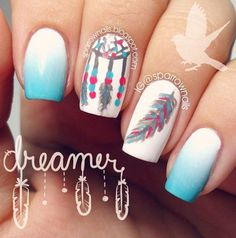 Dreamcatcher feather nail art design. Paint on this heavenly nail art by creating a blue to white gradient depicting the bright blue skies w