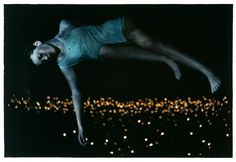 Pic of the Day: Dreamer - My Modern Metropolis #girl #lights #night #floating #photography