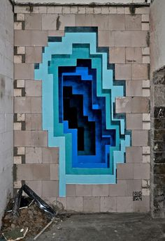 3D Graffiti - Super Punch #urban #layers #sculpture #illusion #installation #graffiti #design #geometric #wall #art #exterior