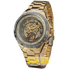 Winner #F110610 #Men's #Hollow #Steel #Belt #Automatic #Mechanical #Watch #- #GOLD