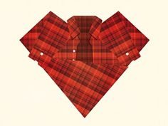 Dribbble - Plaid Love by Rodrigo Maia #heart #plaid #shirt