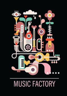 "Abstract art composition. Graphic design with text ""Music Factory"". Isolated vector illustration on black background. #bizarre #retro #icons #set #eye #illustration #shape #vintage #music #flower #factory #fantastic #concert #pastel #abstract #guitar #background #festival #sky #cloud #jazz #design #figure #strange #party #heart #city #pia #rain #holiday #sax #vector #pop #graphic #sound #art"