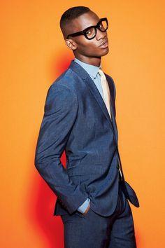 womensweardaily:   Men's Trend: Separate Ways Burberry London's linen suit and DKNY's cotton shirt. Prada tie; Linda Farrow Luxe glass