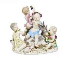 Putti as bacchantes, with a goat. Meissen #Sets #Teasets #Porcelainsets #Antiqueplates #Plates #Wallplates #Figures #Porcelainfigurines #porcelain