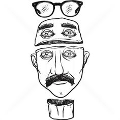 Mustache Dude #glasses #vector #white #dude #head #black #mustache #stock #illustration #and #fashion #man #sketch