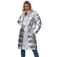 Winter Thick Tooded Shiny Woman Winter Jacket Silver Long over the knee versatile Cotton coat