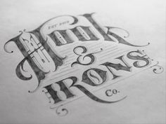 Dribbble - Hook & Irons Co. – Logo Sketch by Tom Lane #logo #types #lettering