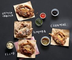 Soft-Shell Crabs - Three Methods, Four Coatings, Five Sauces - NYTimes.com #recipe #food