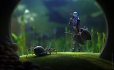 Spider Hunter by Veprikov #tiny #hunter #spider #digital #illustration #art #arrow #3d