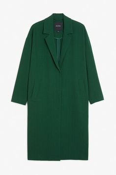 Long dressy coat - Deep forest - Coats & Jackets - Monki DE
