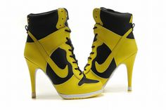 Nike Dunk SB High Heels Black/Yellow #shoes
