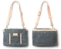 WAXED CANVAS MESSENGER BAG (CHARCOAL) | Ugmonk