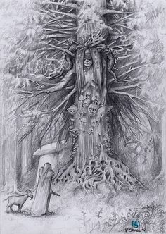 MELANIE STEINKE - RAWZ #fantasy #white #tree #fairy #black #illustration #nature #magical #and #goblin #forest #pencil #sketch