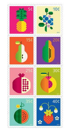 Lovely Scandinavian style fruit stamps. #colourful #illustration #scandinavian #stamps