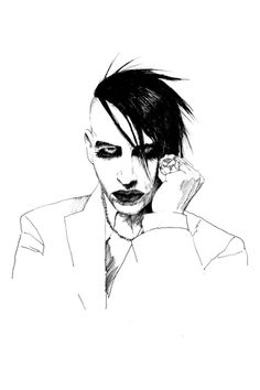 —Marilyn Manson —Adult— #rockstar #psycho #horror #illustration #manson #white #cover #scare #face #suit #marilyn #emo #adult #makeup #darky #dark #punk #rock #black #people #hair #antichrist #art #glam #beatiful