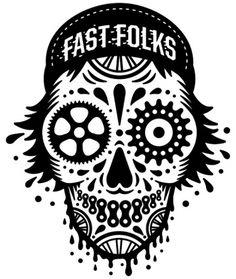 bigger than giants // ART #bikes #white #black #illustration #and #logo #skull #fast