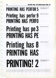 Gothic № 51 type specimen