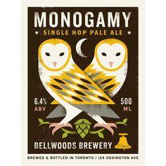 doublenaut_monogamy.png #beer #silkscreen #branding #illustration #poster #owls