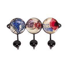 Postage Stamps Wall Hooks, Set of 3, 15.5cm x 9cm x 4cm