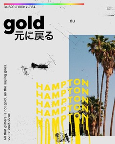 Once again, really cool textures used. The rainbow gradient at the top stands out and as well as the 'hampton' text which looks thrown onto the poster. Very well-balanced.