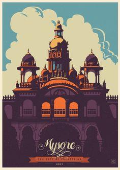 Travel Postcards & Posters of Karntaka India #india #travel #illustrations #posters #postcards