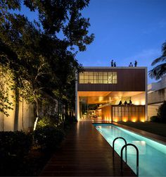 Contemporary and Fresh Tetris House by Studio mk27 swimming pool area #architecture #house #house design #modern house