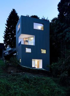 Modern Vertical House Accessed by a Steel Pedestrian Bridge 12