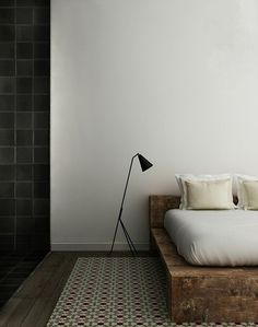 Bedroom #wood #bed #white wall #greta magnusson grossman #grasshopper lamp