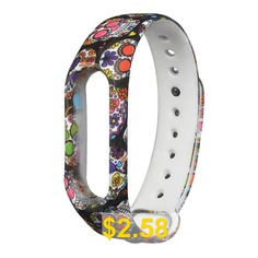 Hand-painted #Replacement #Wristband #for #Xiaomi #Mi #Band #2 #- #FASHION #SKULL