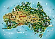 Australia | Flickr - Photo Sharing! #australia #map #cartography #twa #travel #airline #mid-century modern