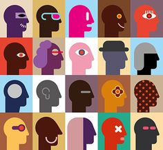 Human Heads #design #illustration #art #collection #abstract #vector #icon #portrait #man #face #pop art #profile #head #human #patchwork #s