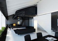 thetieguy: dream apartment! - Mylo Xyloto #sofa #white #house #black #home #monochrome #architecture #fireplace
