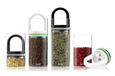 A food container storage system that uses an airtight seal and glass canisters to keep food fresh for longer.
