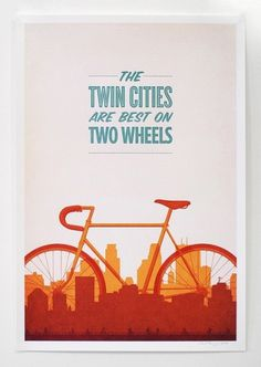 Twin Cities Biking #red #orange #warm #cities #bike #poster #twin