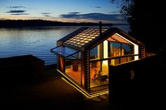 graypants glowing garage at lakes edge #cabin