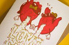 lovely-stationery-lovesick-or-lovestruck4.jpg 1,100×733 pixels #lovesick #red #card #letterpress #hearts #green
