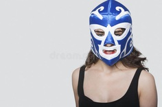 Download Portrait Of A Young Woman Wearing Wrestling Mask Over Gray Background Stock Image - Image of shot, ethnicity: 30854337