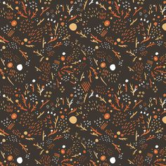 woodsy pattern Art Print by Olivia Mew #illustration #pattern #woods