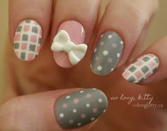 Cute checkered and polka dot bow nail art. Put in together cute bows, checkered prints and polka dots and you get this adorable nail art com